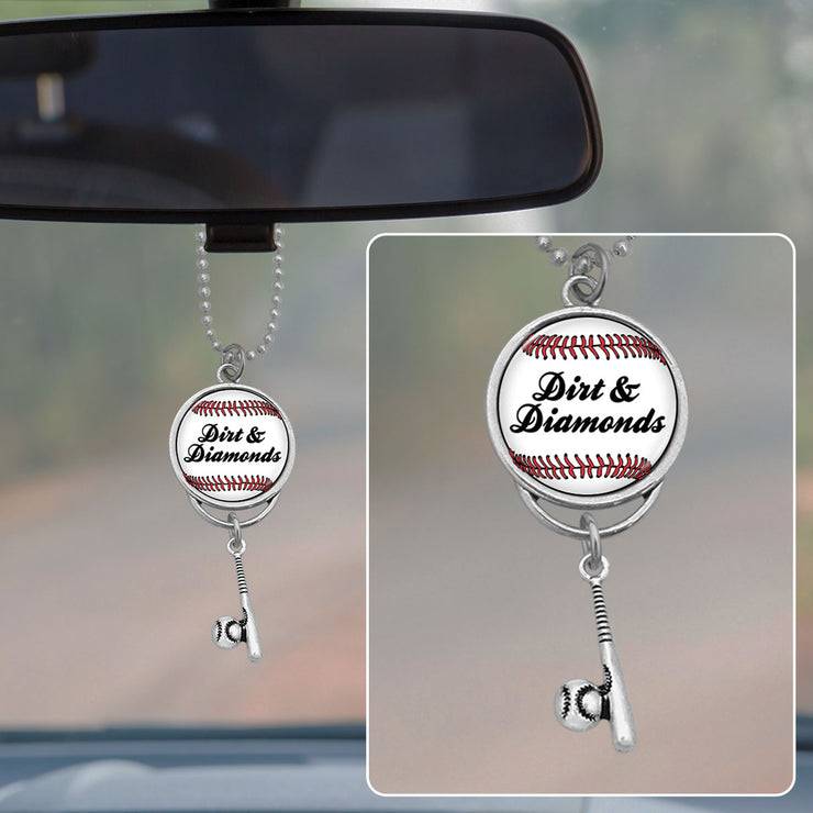 Dirt & Diamonds Baseball Rearview Mirror Charm