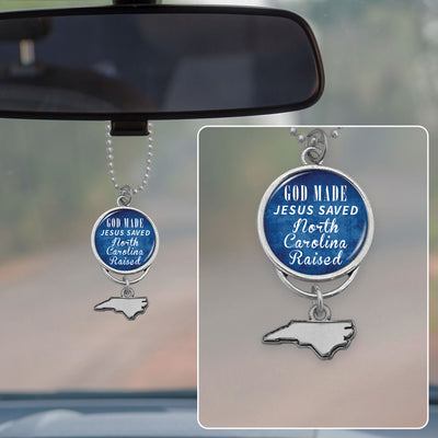 God Made Jesus Saved North Carolina Raised Rearview Mirror Charm