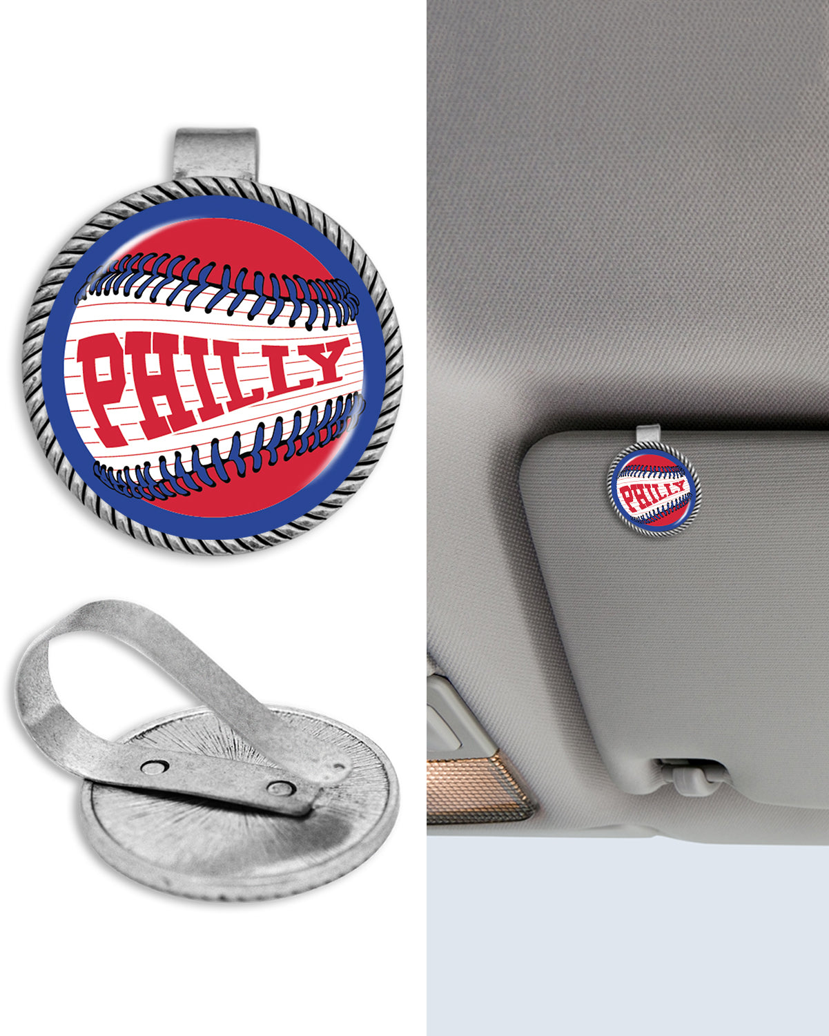 "Philadelphia ""Philly"" Baseball Circle Auto Visor Clip"