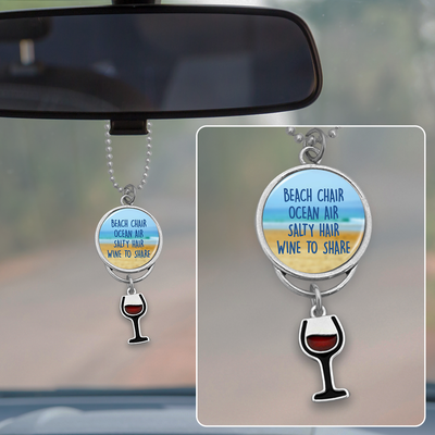 Wine To Share Rearview Mirror Charm
