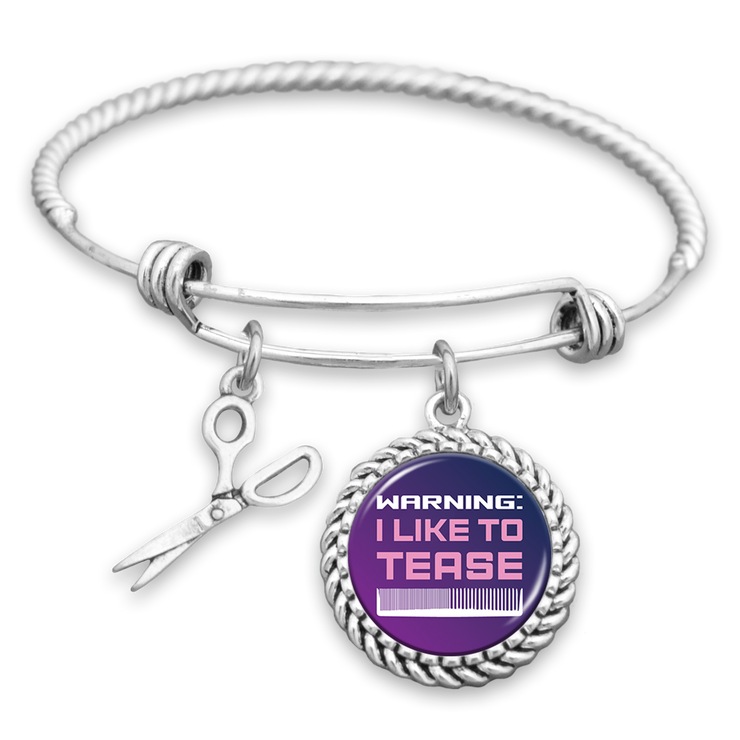Warning: I Like To Tease Hairstylist Charm Bracelet