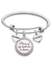 Pieces Of My Heart Are In Heaven - Parents or Grandparents Charm Bracelet