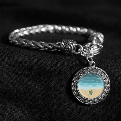 Baby Turtle Almost There Silver Braided Clasp Bracelet