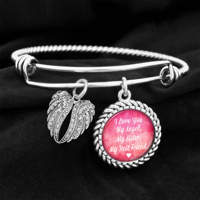I Love You My Angel, My Sister, My Best Friend Charm Bracelet