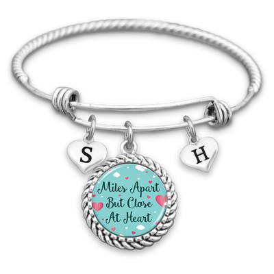 Customizable Miles Apart But Close At Heart Charm Bracelet