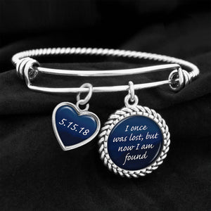I Once Was Lost, But Now Am Found Personalized Sobriety Date Charm Bracelet