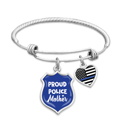 Proud Police Mother Charm Bracelet