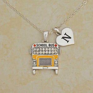 School Bus Driver Custom Initial Necklace