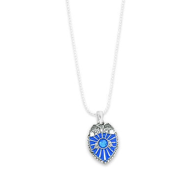 Police Shield Charm Ball Link Heart Necklace