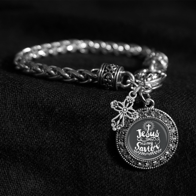 Jesus Is My Savior Silver Braided Clasp Charm Bracelet