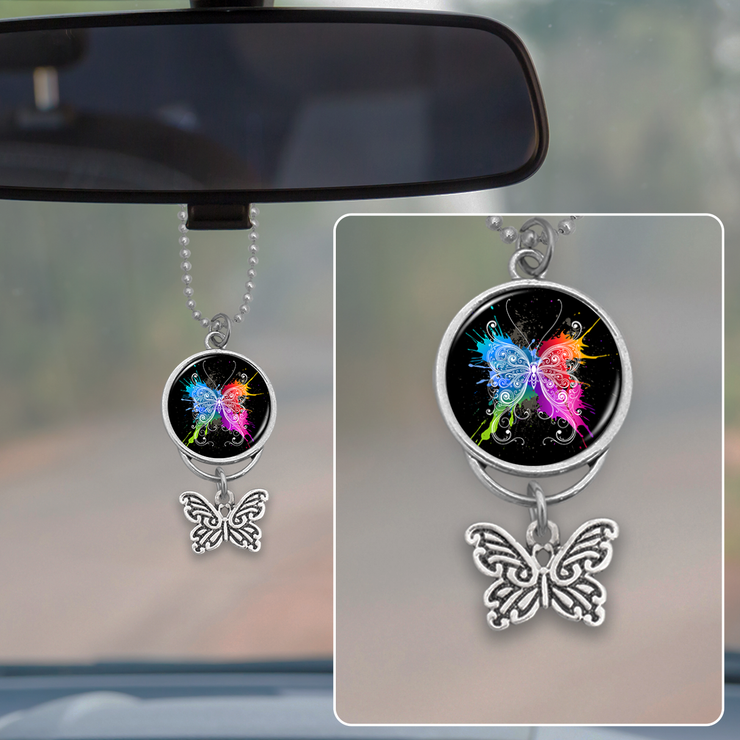 Paint Splatter Butterfly Rearview Mirror Charm