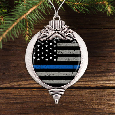 Thin Blue Line Flag Bulb Ornament