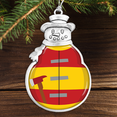 Firefighter Uniform Snowman Ornament