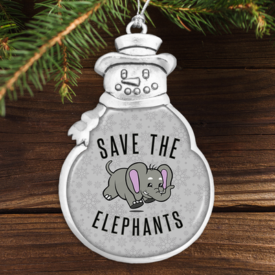 Save The Elephants Snowman Ornament