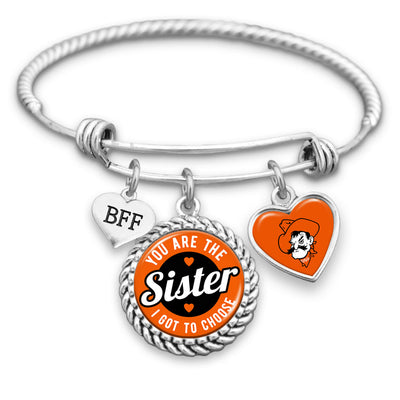 OKlahoma State Cowboys Sister I Got To Choose BFF Charm Bracelet
