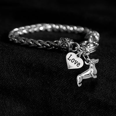 Doxie and Love Heart Silver Braided Clasp Charm Bracelet