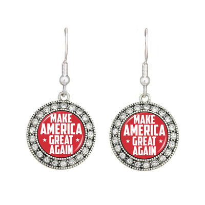 """Make America Great Again"" Trump Crystal Earrings"