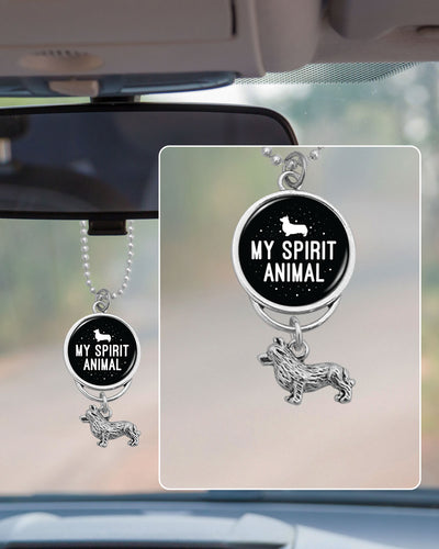 My Spirit Animal Is A Corgi Rearview Mirror Charm