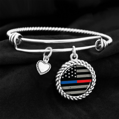 Thin Blue & Red Line Flag Charm Bracelet