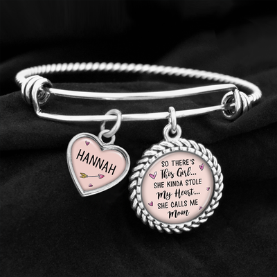 Customizable So There's This Girl, She Kinda Stole My Heart Charm Bracelet