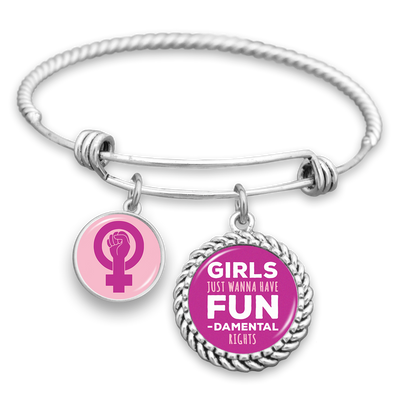 Girls Just Wanna Have FUN-damental Rights Charm Bracelet