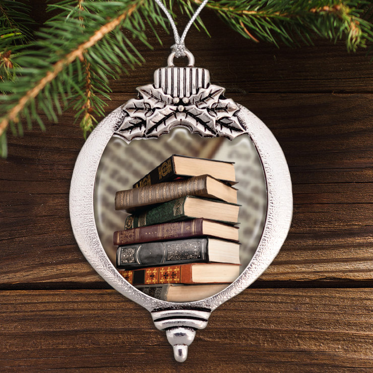 Old Books Bulb Ornament