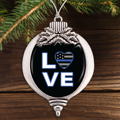 Thin Blue Line Love Bulb Ornament