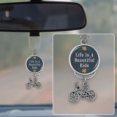 Life Is A Beautiful Ride Floral Bike Rearview Mirror Charm