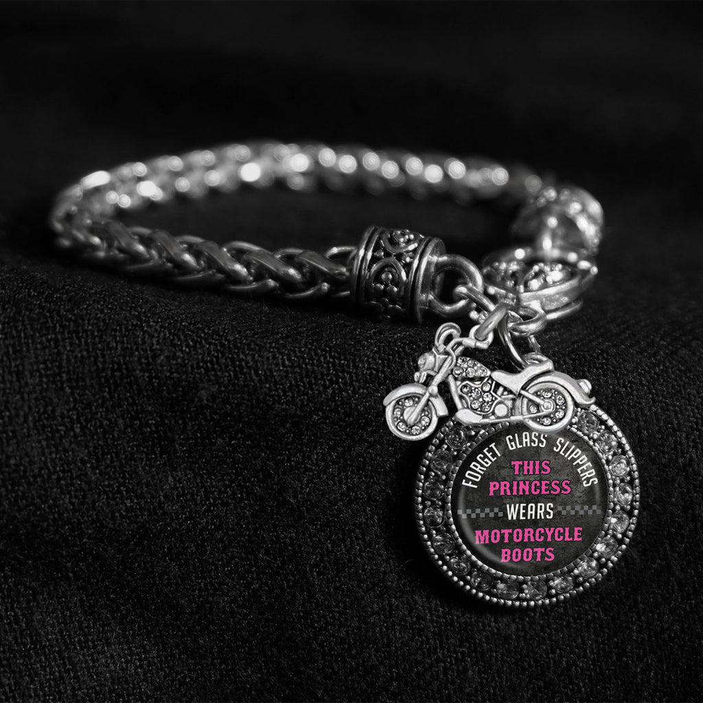 Motorcycle Boots Silver Braided Clasp Charm Bracelet