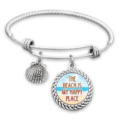 The Beach Is My Happy Place Charm Bracelet