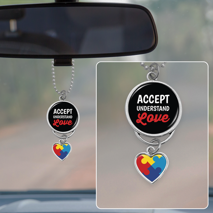 Accept Understand Love Autism Awareness Rearview Mirror Charm