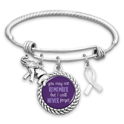 You May Not Remember, But I Will Never Forget Alzheimer's Awareness Charm Bracelet