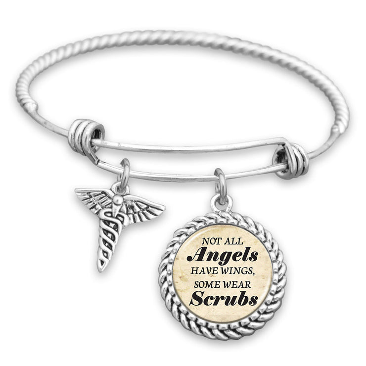 Not All Angels Have Wings, Some Wear Scrubs Charm Bracelet