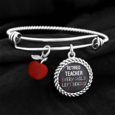 Retired Teacher Every Child Left Behind Charm Bracelet