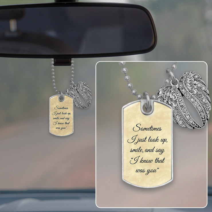 Know That Was You Angel Wings Dog Tag Rearview Mirror Charm