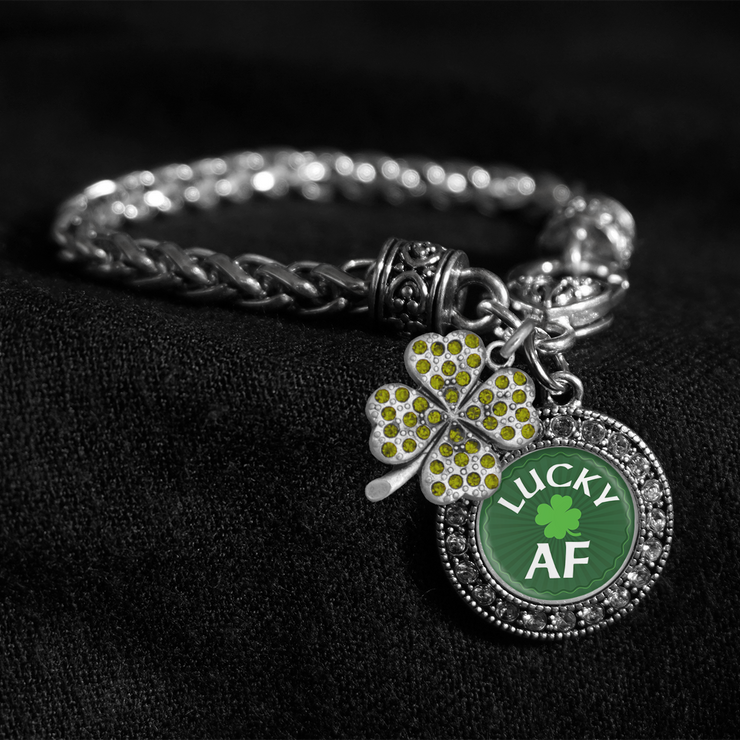 Lucky AF Silver Braided Clasp Charm Bracelet