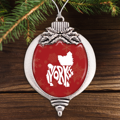 Typographic Yorkie Bulb Ornament