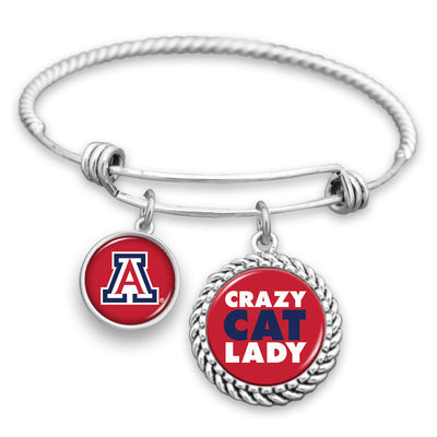 Arizona Wildcats Crazy Cat Lady Charm Bracelet