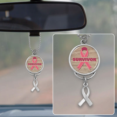Survivor Breast Cancer Awareness Rearview Mirror Charm