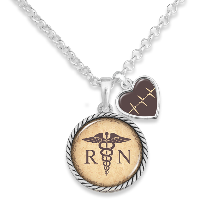 Vintage RN Heart Charm Necklace
