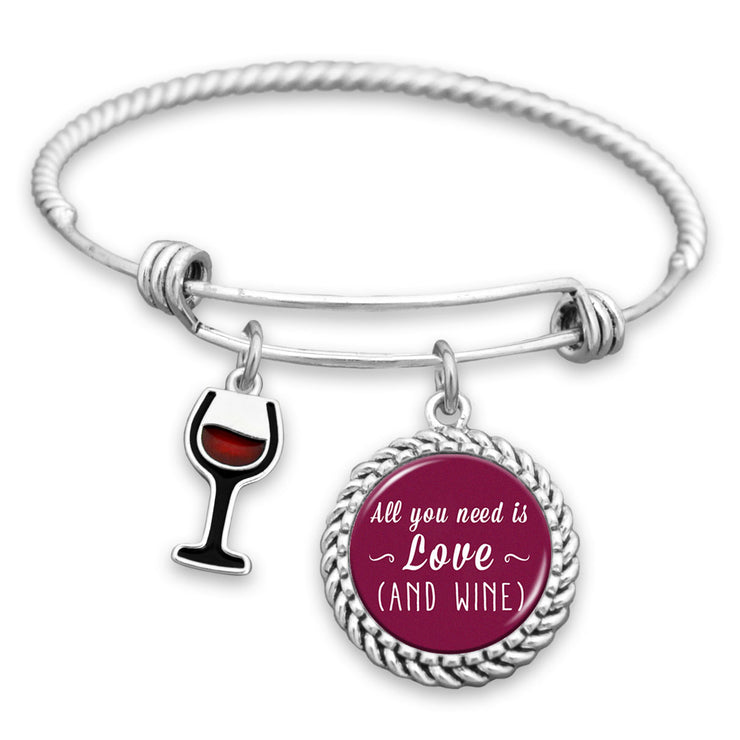All You Need Is Love (And Wine) Charm Bracelet