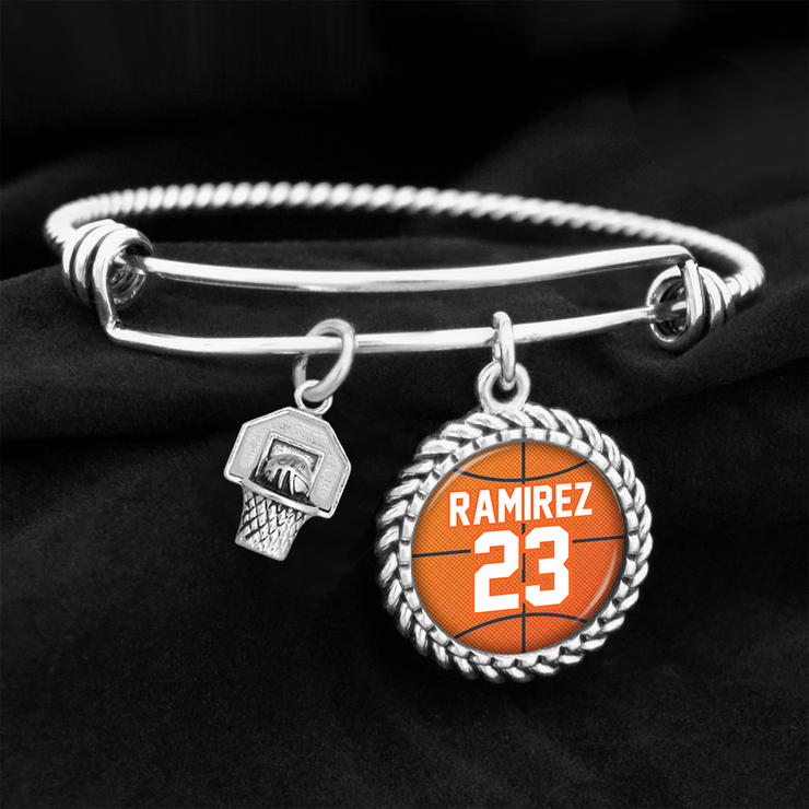 Customizable Basketball Name and Number Charm Bracelet