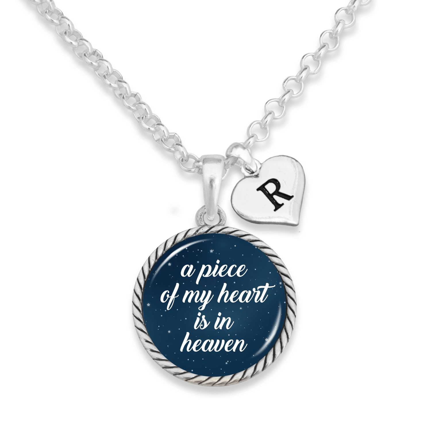 Piece Of My Heart Night Sky Personalized Initial Charm Necklace