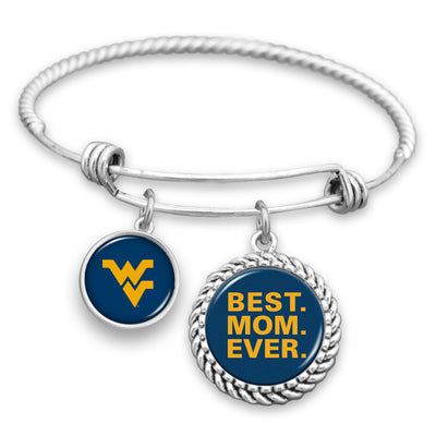 West Virginia Mountaineers Best Mom Ever Charm Bracelet