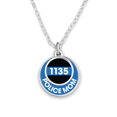 Customizable Police Mom Double Circle Necklace