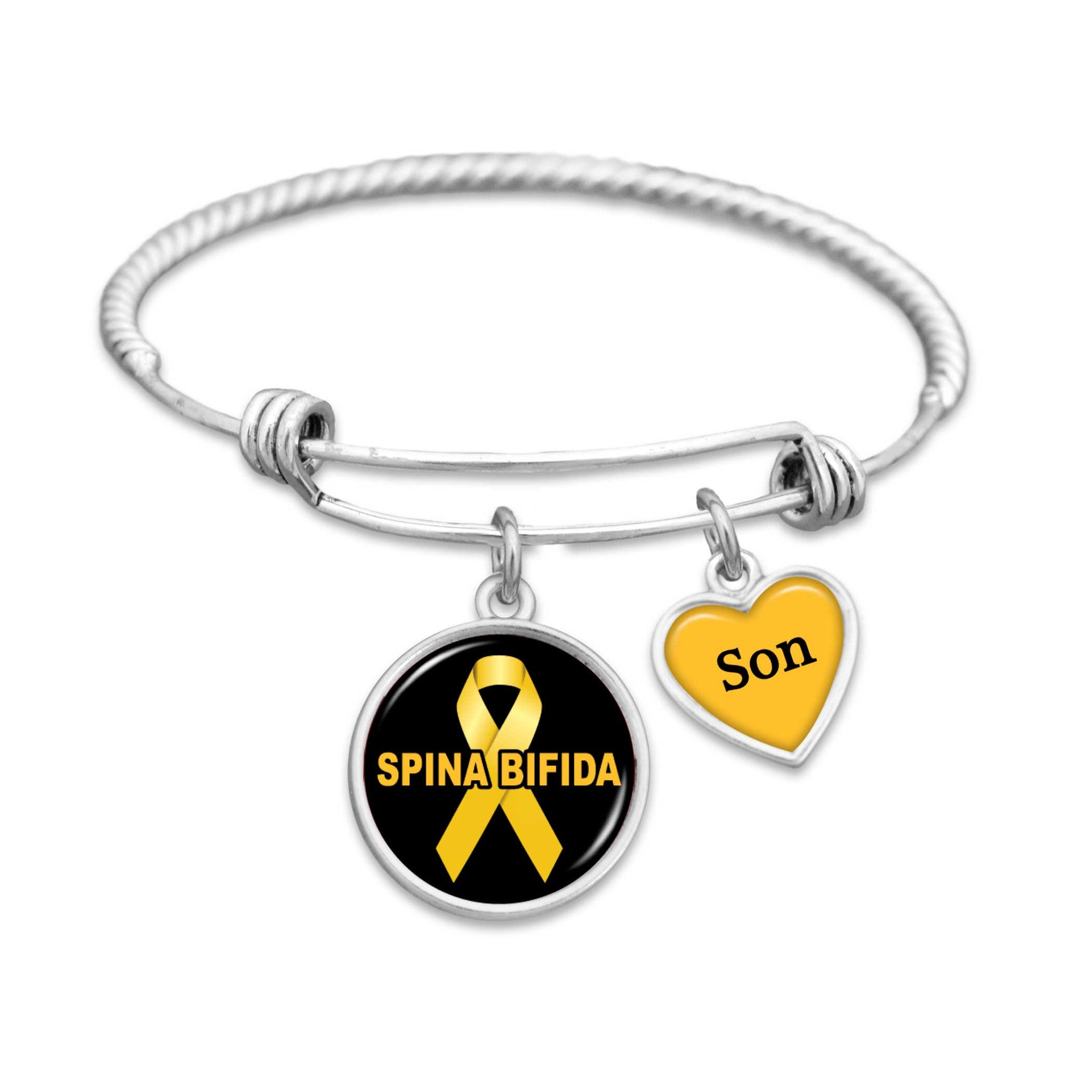 charm osteosarcoma survivor adenosarcoma cancer yellow endometriosis pin ribbon bladder spina bracelet bifida liver