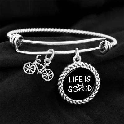Life Is Good Bicycle Charm Bracelet
