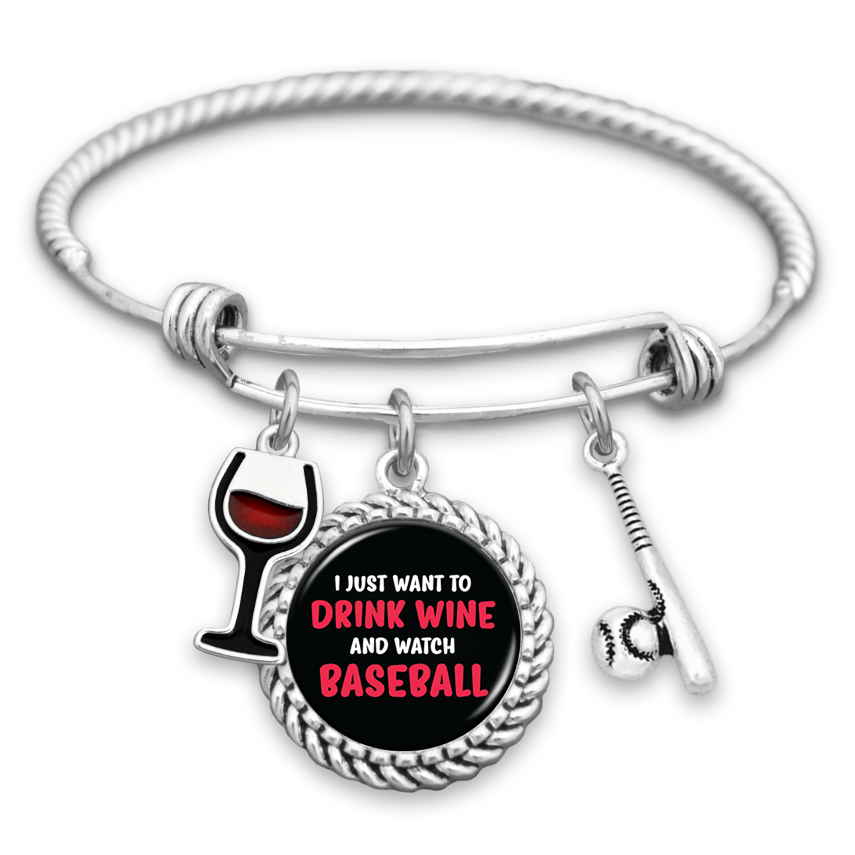 Baseball Charm Bracelet: I Just Want To Drink Wine And Watch Baseball Charm Bracelet