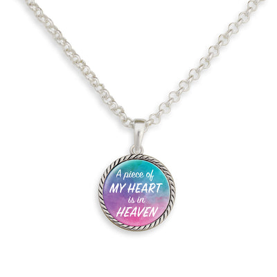 A Piece Of My Heart Is In Heaven Watercolor Necklace
