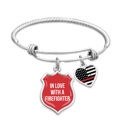 In Love With A Firefighter Thin Red Line Charm Bracelet